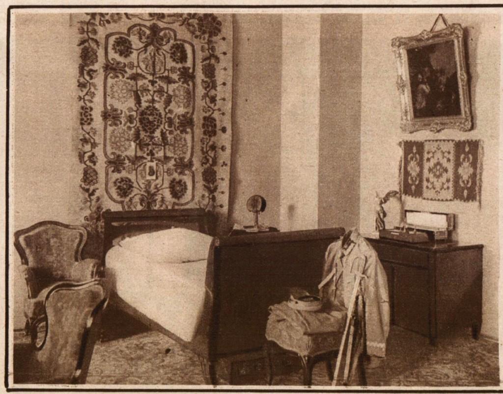 sypialnia Marszałka w lipcu 1926 r. źródło: tygodnik Światowid, 1926 r.